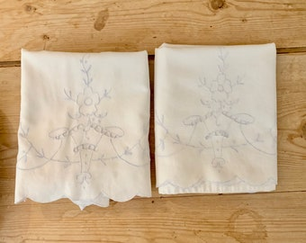 Blue White Embroidered Pillowcases, Vintage Standard Size Pillowcases, Scalloped Hem with Blue Embroidered Basket, French Cottage Farmhouse