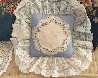 Blue Satin Pillow Cream Lace, Small Vintage French Country Pillow Pin Cushion Light Blue, Cottage Chic Farmhouse Decor