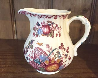 English Ironstone Milk Pitcher, 16 ounce, Fruit Pattern by Franciscan, Romney Jug, Milk Creamer, Red Multicolor Transferware, French Cottage