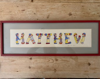 Child's Name Art Work Matthew, Vintage Pen Ink Watercolor Clowns Signed Artwork, Red Blue Yellow, Red Wood Frame, Nursery Decor, Boys room