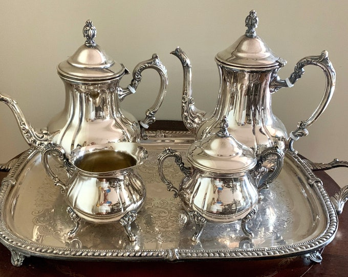 Featured listing image: Towle Silver Plate Tea Set, 4 Piece Coffee Tea Set with Footed Silver Plate Butler's Tray, Birmingham Silver Company Butler's Tray