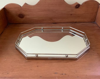 Brass Mirrored Vanity Tray, Vintage Modern Design Mirrored Perfume Tray, Octagonal Shaped Mirrored Dresser Tray, 13 Inch Vanity Tray