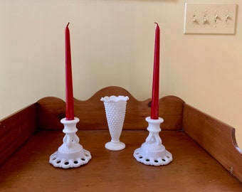 Westmoreland Milk Glass Candle Holders, Vintage White Milk Glass Tapered Candlestick Holders, 2 Pairs Available, Cottage Farmhouse , Wedding