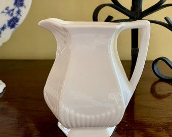 Adams and Sons Small Cream Pitcher, 16 ounce English Ironstone Creamer Pitcher, Empress Pattern, French Country Cottage Farmhouse