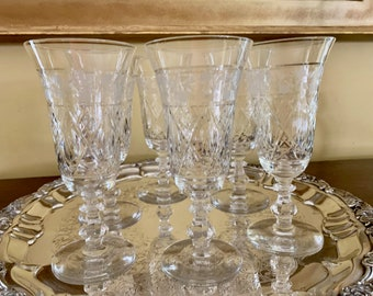 Crystal Water Goblets, 6 Ice Tea Parfait Goblets, Vintage Cut Crystal with Gray Cut Floral Design, Crystal Wedding Bridal Gift