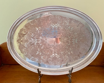 Silver over Copper Oval Tray, Vintage Mid Century Gallery Tray, Scroll Chased Design, Barware Tray, Vanity Tray