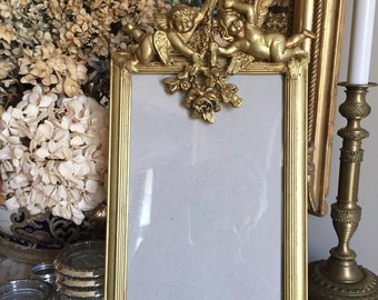 Vintage Cherub Photo Frame, Gold Toned Wooden Decorative Picture Frame, Mother's Day Gift