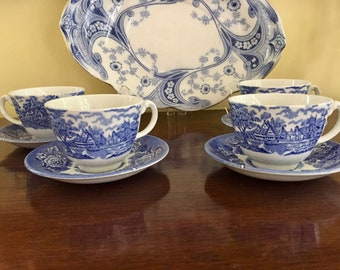 Woods and Sons English Scenery Blue White Cups and Saucer, Flat Cup, Continental Shape, Excellent Condition, 4 Available