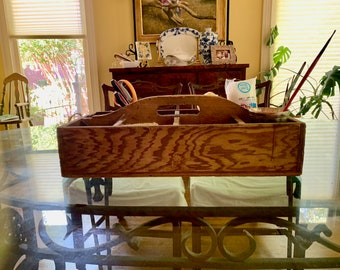 Rustic Wooden Caddy Tray, Farmhouse Sectional Wooden Storage Tray, 8 Compartments Craft Utility Tray, Flower Tray, Gardening Storage Box