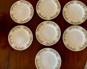 Green White Porcelain Dinner Plates, Set of 7 Alberta by Everbrite Japanese Porcelain, Japanese China,  Replacement China, Sold as Set