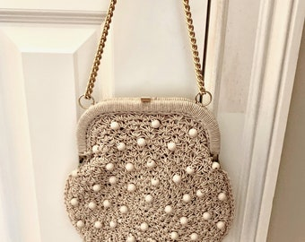 Mister Ernest Macrame Beaded Purse with Gold Chain Strap, Made in Italy, Vintage 60's Beige Macrame Handbag
