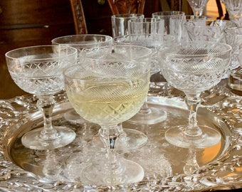 Crystal Champagne Coupes, Webb Thomas Crystal Set of 6 Champagnes, Heirloom Pattern, Wedding Bridal Gift, Holiday Dining