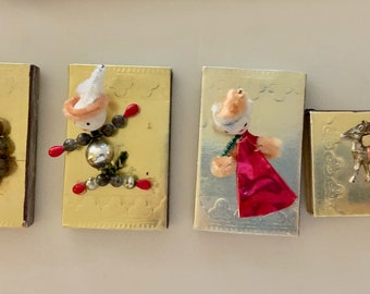 Vintage Christmas Match Boxes, Mid Century Retro Gold Foiled Match Boxes, Set of 4