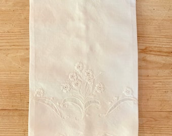 Embroidered Tea Towel, White on White Floral Design, Scalloped Hem, 2 Available Each Sold Separately, Cottage Farmhouse Linens