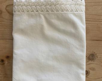 White Cotton Pillowcase, Scallop White Crochet Trim, Vintage Single Pillowcase, Cottage Farmhouse Bedding, Standard Size Pillowcase