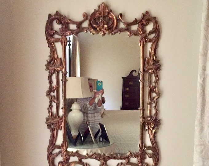 Featured listing image: Vintage Syroco French Style Mirror, Gold Hollywood Regency Decorative Mirror, Rectangular Mirror, Entry Way Mirror, Dining Room Mirror
