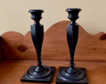 Wooden Candlestick Holders, Vintage Handmade Tapered Candlesticks, Carved Georgian Shaped Candle Holders, Country Farmhouse Decor