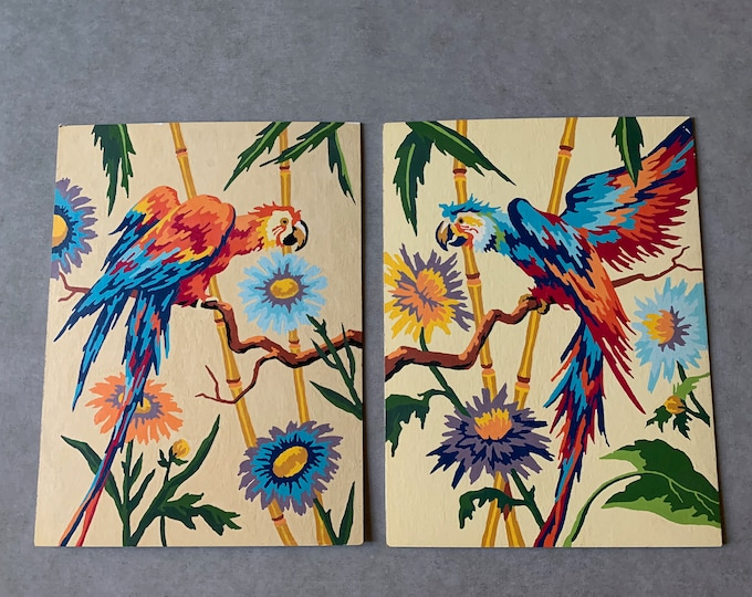 Featured listing image: Vintage Parrot Paintings, Paint by Number, Colorful Retro Bird Paintings, Mid Century Bohemian Coastal Decor, Each Sold Separately