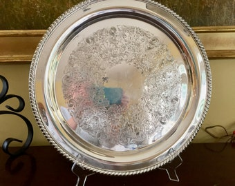 Round Silver Tray, Vintage Silver Plate 15 Inch Serving Tray, Embossed Design, Large Barware Tray