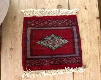 Small Hand Knotted Oriental Table Runner, Persian Turkish Table Mat, Small Wall Hanging, Bohemian Decor