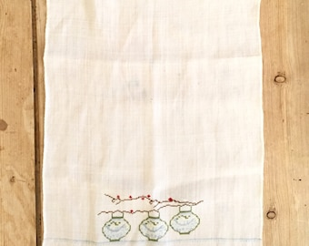 Linen Tea Towel, Petit Point Japanese Lanterns, Blue White Guest Hand Towel, Asiatic Chinoiserie Decor
