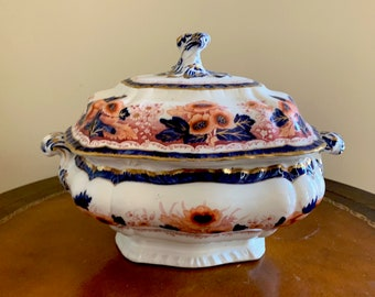 Booth's Semi Porcelain Antique Tureen, Pattern Number 4636, Cobalt Blue, Cinnabar Red Gold Floral, Chinoiserie Flower Jardiniere,