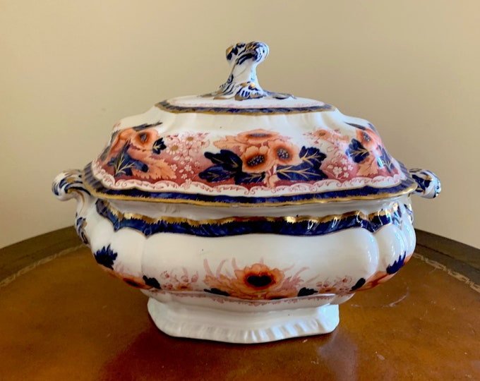 Featured listing image: Booth's Semi Porcelain Antique Tureen, Pattern Number 4636, Cobalt Blue, Cinnabar Red Gold Floral, Chinoiserie Flower Jardiniere,