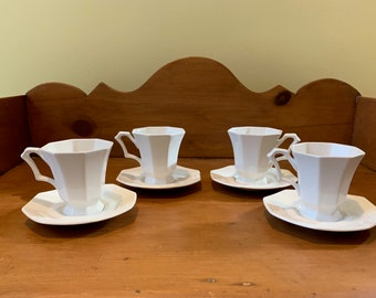 Independency Ironstone Demitasse Cups and Saucers, Set of 4 Castleton Ironstone, 4 Espresso Cups Saucers, Mid Century Modern Ironstone