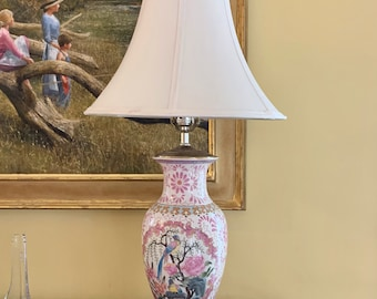 Pink White Porcelain Lamp, Vintage Asian Lamp Bird Floral Urn Style Lamp, Decorative Brass Finial,  Chinoiserie Decor, Wooden Base,