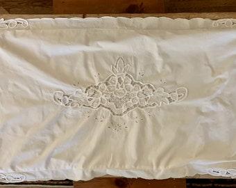Battenburg Pillow Sham, King Size White Battenburg Sham, Single Sham, Decorative Pillow Sham, Cottage Farmhouse Bedding,