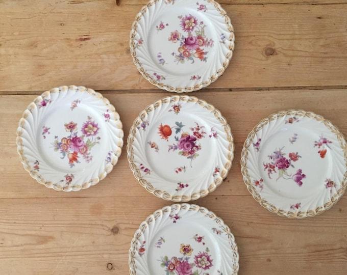 Featured listing image: Antique German SAXE Porcelain Dessert Plate, Hermann Ohme Porcelain, Floral Bouquet Swirl Pattern Gold Trim, Set of 5