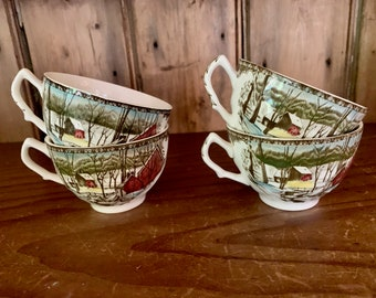 Friendly Village Coffee Cup, Flat Cup Johnson Brothers Transferware Tea Cup , Made in England, 4 Available Each Sold Separately