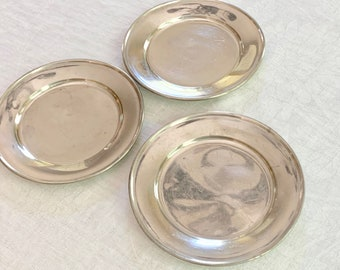 Three Stieff Pewter Plates, Vintage Pewter 6 Inch  Salad Desert Plates, Pillar Candle Holders, Colonial Farmhouse Decor