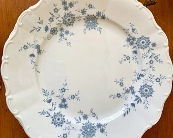 Christina Porcelain Dinner Plate, Bavarian Blue, Scalloped Blue and White Floral Plate, Seltmann Weidmen, West Germany, 5 Plates
