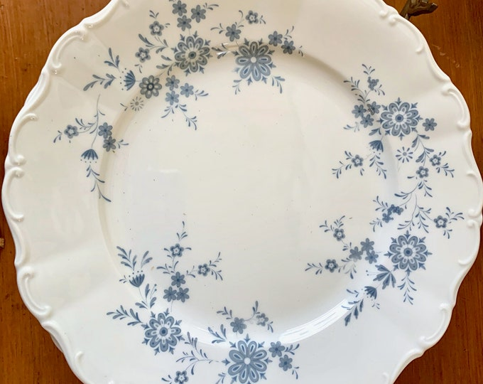 Featured listing image: Christina Porcelain Dinner Plate, Bavarian Blue, Scalloped Blue and White Floral Plate, Seltmann Weidmen, West Germany, 5 Plates