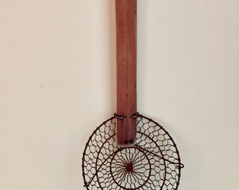 Vintage Spoon Strainer, Handmade Wood Metal Large Strainer, Country Primitive Farmhouse Kitchen, Collectible Kitchen Utensil