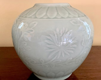 Large Asian Bowl, Celadon Colored Ceramic Pottery Bowl, Round Asian Vase, Chinoiserie Decor, 2 Available, Each Sold Separately