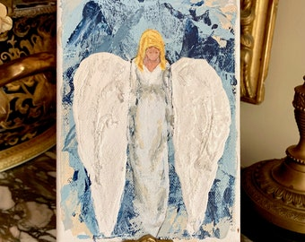 Small Angel Painting, Original Contemporary Angel Painting 5 x 7 Inches, Mixed Media, Gallery Wrapped, Angel Lover Gift, Religious Art Gift