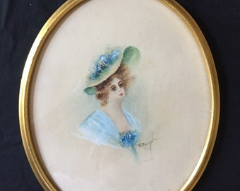 Victorian Lady Portrait, Watercolor Gouache Painting Lady in Blue Signed M. Naugle, Vintage Watercolor Bust Portrait, Mother's Day Gift