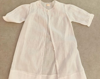 Infant Day Gown, White Batiste Pink Embroidery, Pintuck Pleats Scalloped Neck , Vintage Hand Made Baby Dressing Gown, Doll Dress