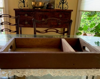 Wooden Storage Tray, Vintage Handmade Handled Cubby Reddish Brown Paint, Two Section Storage Tray, Country Farmhouse