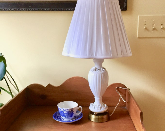 Featured listing image: White Porcelain Table Lamp, Blanc de Chine Porcelain Lamp with White on White Floral Design, Brass Base and Finial, Linen Shade Included