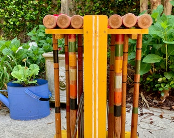 Vintage Croquet Stand with Mallets, Mid Century Croquet Mallets with Markers and Metal Wickets, No Croquet Balls Included