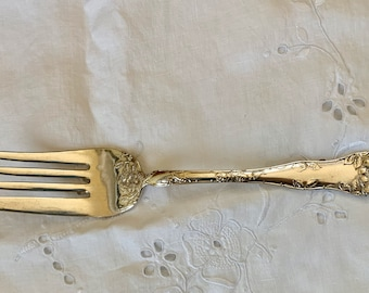 Art Nouveau Meat Fork, Antique Silver Plate Meat Fork, Serving Fork, 1877 Niagara Falls Silver Company, Wild Rose Pattern