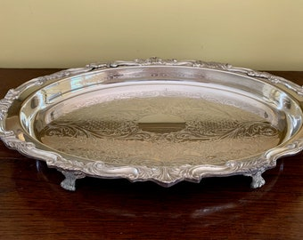 Silver Footed Gallery Tray, Oval Sheraton Silver Plate Serving Tray, Silver Barware Tray, Wedding Bridal Gift, Silver Gift Idea