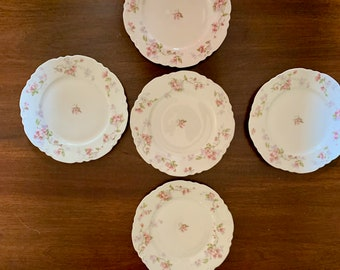 Limoges Luncheon Plates, Set of 5 Pink Floral Scalloped Haviland Limoges Luncheon Plates, Sold as Set of 5, One Plate with Wear