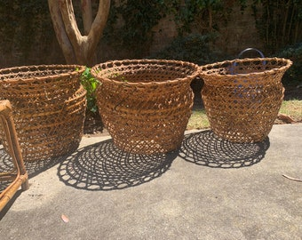 Hand Woven Bamboo Planter, Large Round Bamboo Storage Basket, Bamboo Flower Container, 3 Available Each Sold Separately