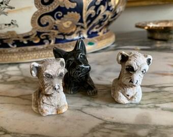 Three Little Scotties, Vintage Scottie Figurines, Set of 3 Sold Together, 2 Chalk Scottie Figurines, 1 Black Scottie Figurine