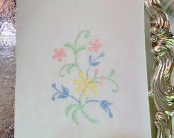 Embroidered Tea Towel, Floral Yellow Pink Blue Green Hand Embroidered Guest Hand Towel, Cottage Farmhouse Linens