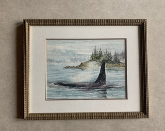Vintage Watercolor Whales, Signed Brian Wallace, Deceased Canadian Artist, Watercolor Painting, Nature Lover Gift, Art Lover Gift